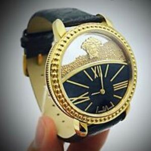 Versace Swiss Quartz Stainless Black & Gold Watch